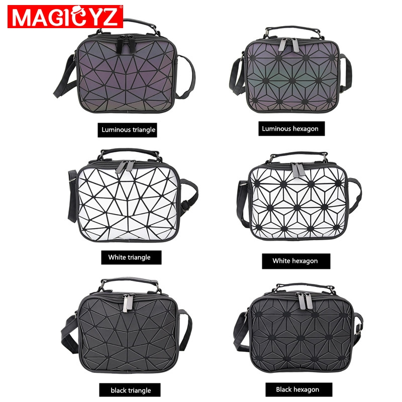 Image 3 - MAGICYZ Women Laser Luminous handbags Small Crossbody Bags for Women Shoulder bag Geometric Plaid Hologram small Square bags-in Shoulder Bags from Luggage & Bags