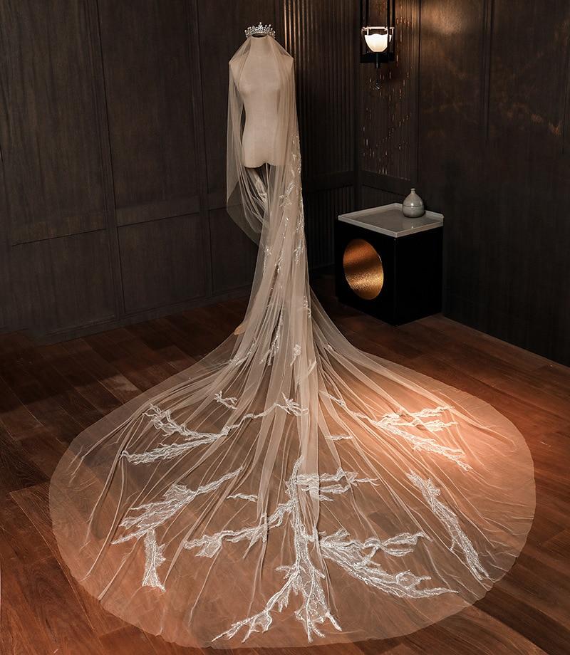 Luxury Wedding Veil 3 Meters Long Bridal Veils Ivory White Applique One-layer  Bride Wedding Accessories In Stock 2020