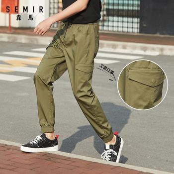 SEMIR Casual pants men 2020 new spring beam feet ins brand multi-pocket small
