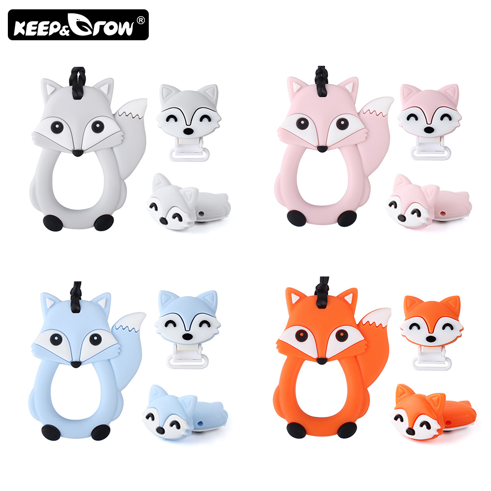 Rodents Silicone Baby Teether Cartoon Fox Silicone Beads Teething Toys DIY Pacifier Chain Clips Perle Silicone Baby Products