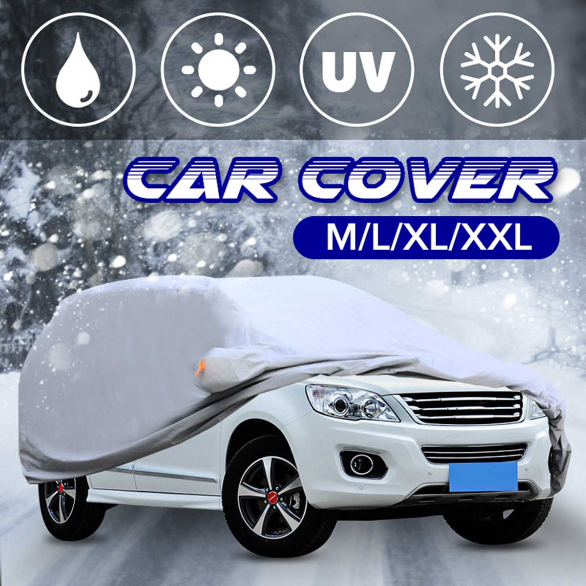 Universal 4 Size M L XL XXL Silver Full Car Cover Anti UV Rain Styling Sunshade Heat Protection Dustproof Outdoor