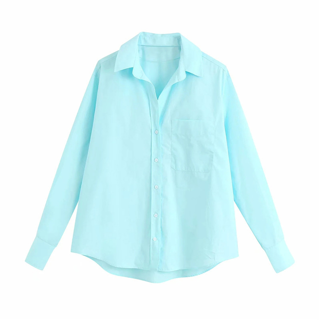 women casual summer long sleeve cotton za blue shirts female 2020 new fashion Candy color single breasted pocket blouse femme 1