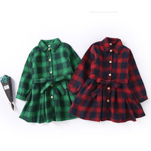 Long Sleeve kids Dresses for Girls Kids Autumn Red Green Plaid School Dress With Belt Children Shirt Age 13 to 3 Years