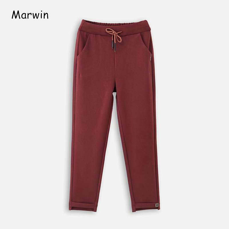 Marwin 2020 New-Coming Spring Empire Solid Office Ladies Casual High Street Fashion High Elastic Waist Pants Middle Aged Pants