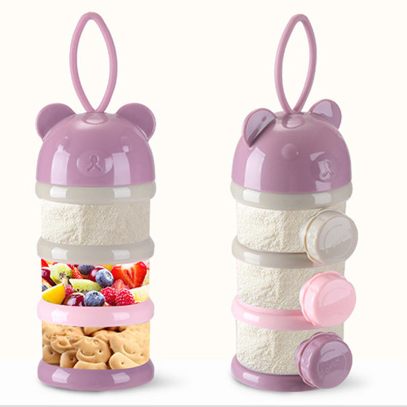 3 Or 4-layers Bear Style Portable Baby Food Storage Box Essential Cereal Cartoon Infant Milk Powder Box Toddle Snacks Container