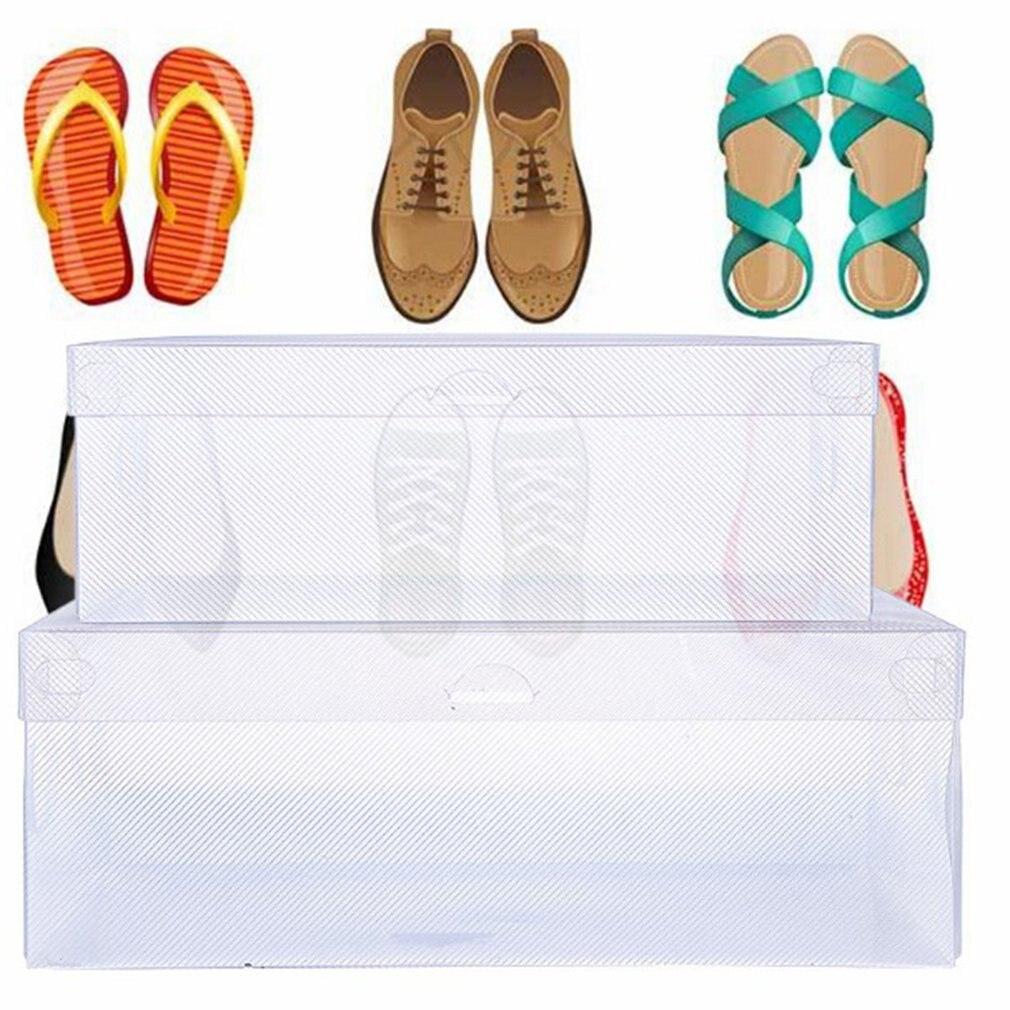 Women/Men  Transparent Plastic Shoes Storage Boxes Shoes Container Box Case Holder Foldable Shoes Box Shoe Organizer