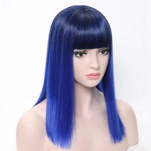 Image 4 - COSYCODE נשים פאה עם פוני 16 inch 40 cm ישר שחור כדי כחול 2 טון ללא תחרה סינטטי פאה קוספליי תלבושות כתף אורך