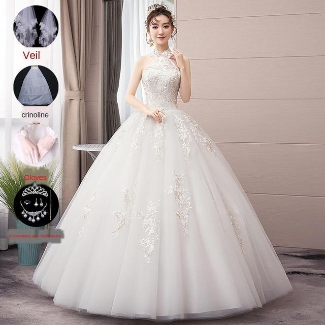 LAMYA Halter Wedding Dress Luxury Tiktok Celebrity Inspired 2020 New High-end Temperament Dream Starry Backless Slimming