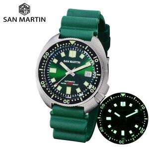 Мужские автоматические механические часы San Martins NH35, автоматические светящиеся часы из нержавеющей стали с ремешком