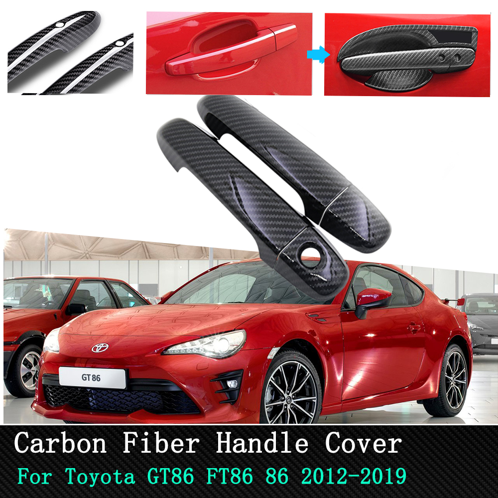 Car accessories Chrome Carbon stickers Luxurious Door Handle Cover for Toyota 86 GT86 FT86 2012 2013 2014 2015 2016 2017   2019