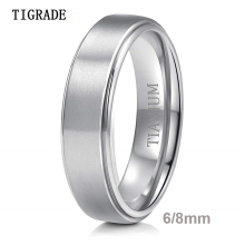 Tigrade 6mm Men Ring Titanium Silver Color 8mm Man Women Engagement Ring Wedding Band Simple Finger Rings Brand Jewelry bague titanium jewelry affordable prices custom black mens wedding band finger rings