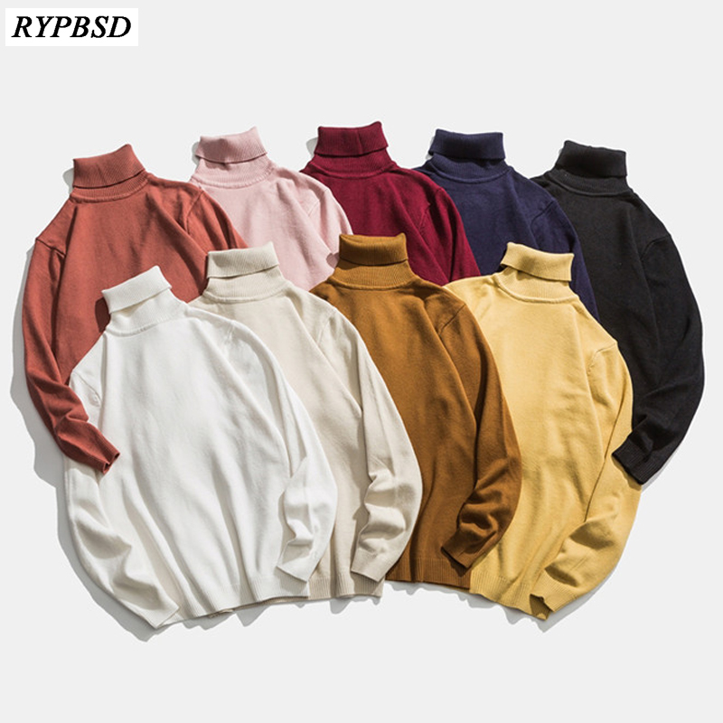 Men Turtleneck Sweater Autumn New Solid Color Long-sleeved High Quality Fashion Casual High Collar Sweater Warm Wool Men Sweater