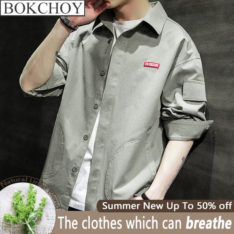 2020 Spring New Arrive Vintage Men Shirt Long Sleeve Cotton Big Pocket  Men Shirts  Casual Shirts  Safari Style