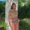 Fashion Sexy Halter Mini Bodycon Dress Summer New Party Vacation Print Off the Shoulder Short Dresses Female Streetwear 1