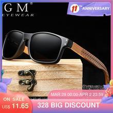 GM Wooden Sunglasses Polarized Men Sports Sun Glasses Outdoors Reflective Eyewear Colorful Mirror Coatin