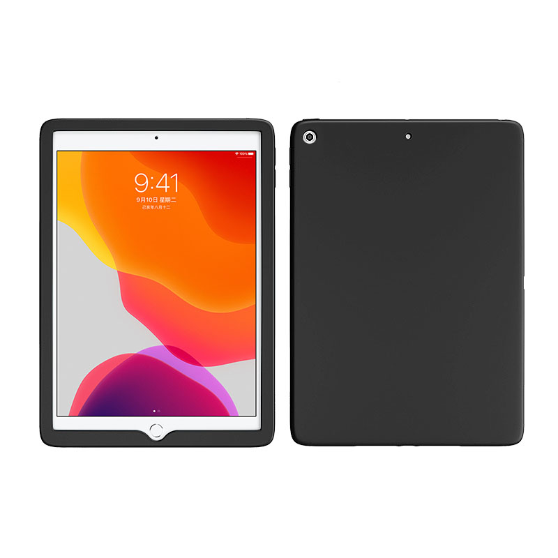 Black Black Shockproof Case For Apple iPad 10 2 inch 2019 2020 Soft Silicone Rubber Protective Tablet Case