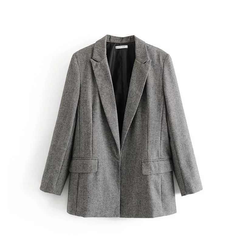 秋と冬の新女性のジャケット気質ルースグレーブレザー女性のカーディガンスーツ大サイズ 2019 オフィスジャケット女性