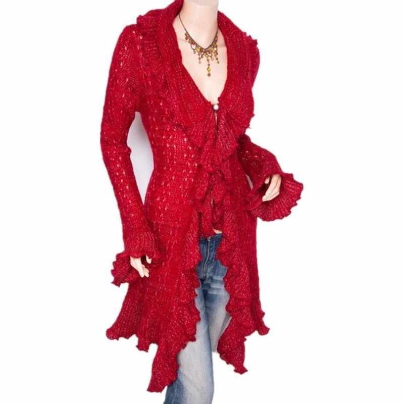New Fall 2020 Womens Sweaters European Ruffled Sweater Cardigan Women Coat Sweet Slim V-Neck Long Female Cardigan Red Pull Femme