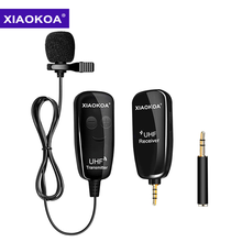 XIAOKOA UHF Lavalier Lapel Wireless Microphone Recording Vlog Youtube Live Interview for Iphone Ipad PC Android DSLR microphone