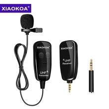 XIAOKOA UHF Lavalier отворотом беспроводной микрофон Запись Vlog Youtube Live интервью для Iphone Ipad PC Android DSLR микрофон