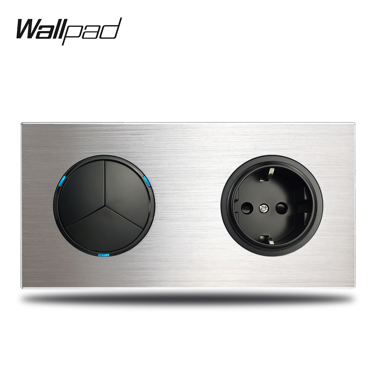 3 Gang Triple Light Switch with EU Wall Electric Outlet Socket Silver Brushed Aluminum Alloy Panel Dual Plate, 172 * 86 mm