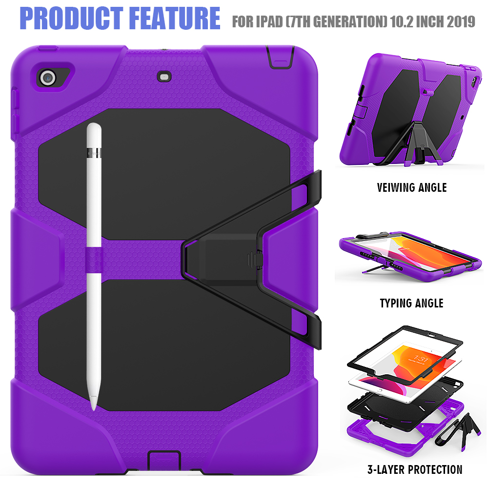 PC For Case Heavy Kids Kickstand 10.2 Armor Silicone Case iPad Duty Rugged Shockproof