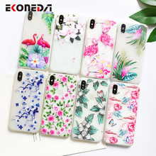 EKONEDA Matte Phone Cases For iPhone XR 11 Pro Max flower Patterned Silicone Case For iPhone 7 7Plus 8 8Plus XS Max X 11 Case(China)