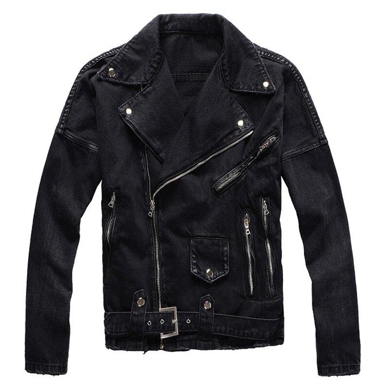 Sokotoo Men's Zippers Black Biker Jean Jacket Streetwear Thick Denim Slim Coat With Belt High Quality