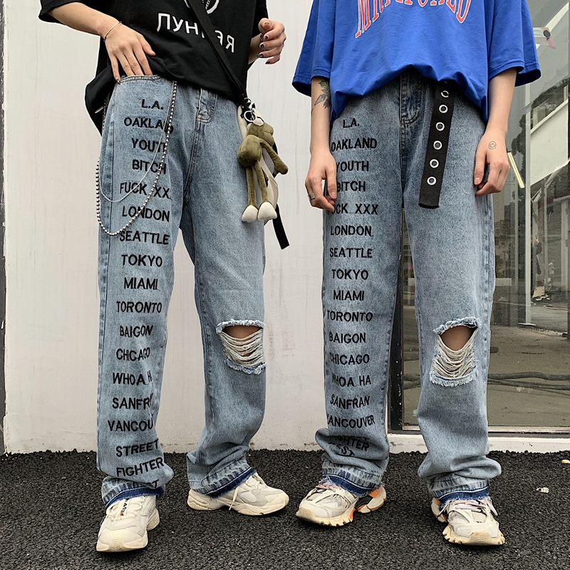 Harajuku Streetwear Denim Pants High Waist Loose Straight Jeans 2019 New Fashion Summer Hip Hop Grunge Style Pants Unisex
