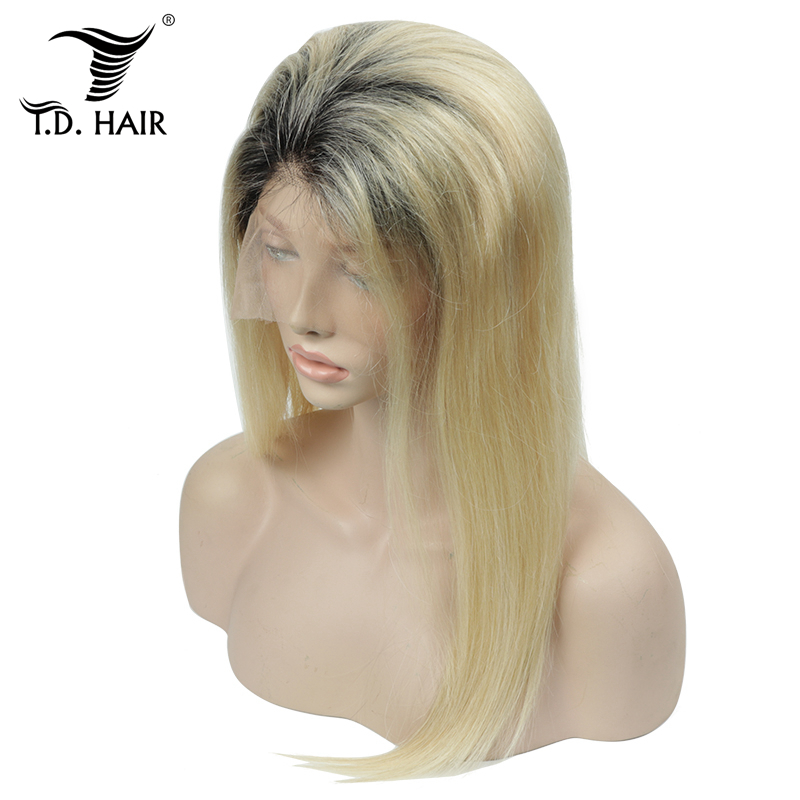 TD 150% Density Ombre Blonde Full Lace Wigs Human Hair Brazilian Wig Swiss Transparent Lace Wigs Remy Hair 1B 613 Wigs