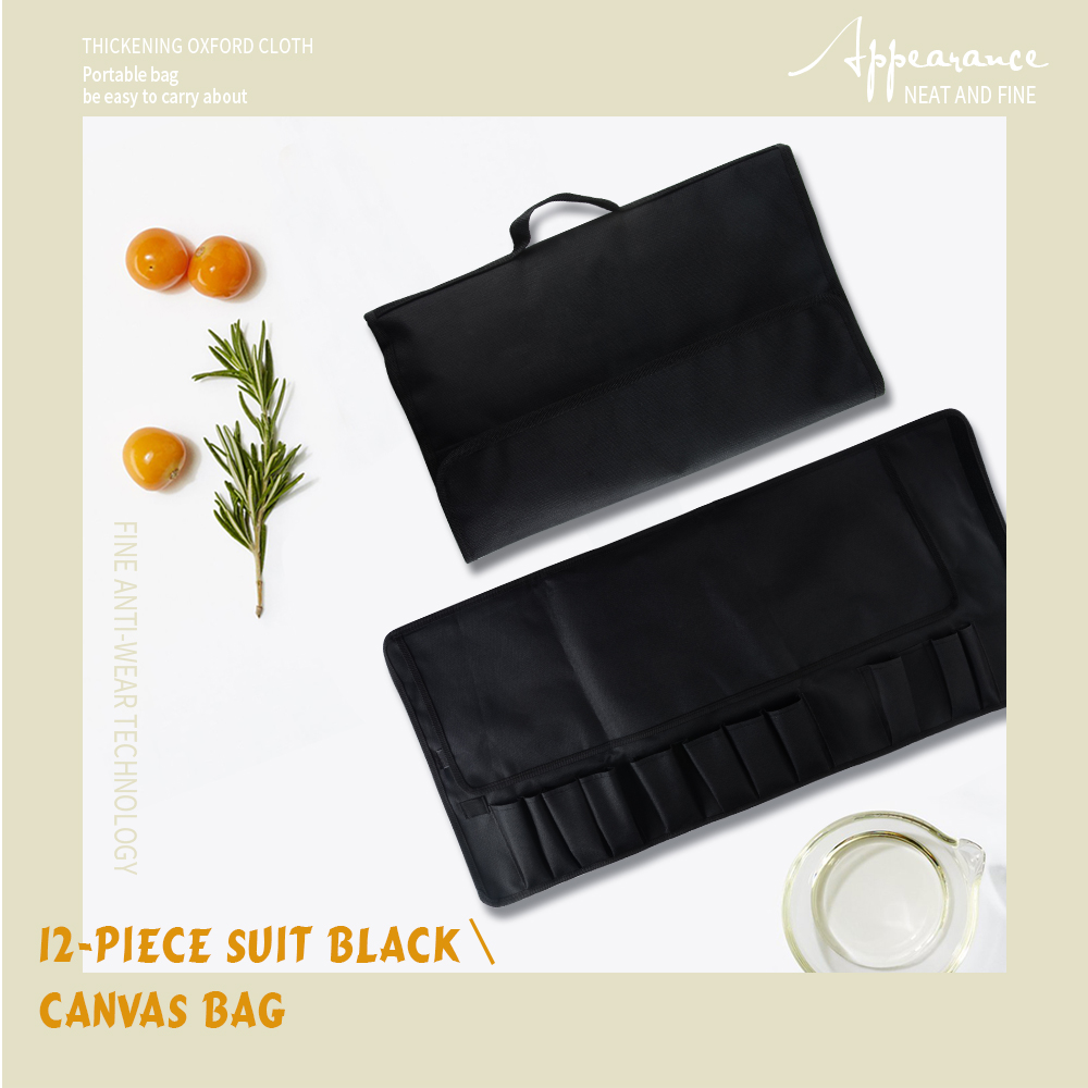 Damask 12 Pcs Kitchen Knife Bag Durable Black Canvas Roll Bag With 12 Pockets For Kitchen Tools Chef Knife Portable Knife Holder