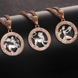 FJ 12 Знак зодиака 585 золотой цвет Созвездие розово-Белые Подвески Козероги/близнецы витая Цепочка Ожерелье для женщин и мужчин ювелирные изделия