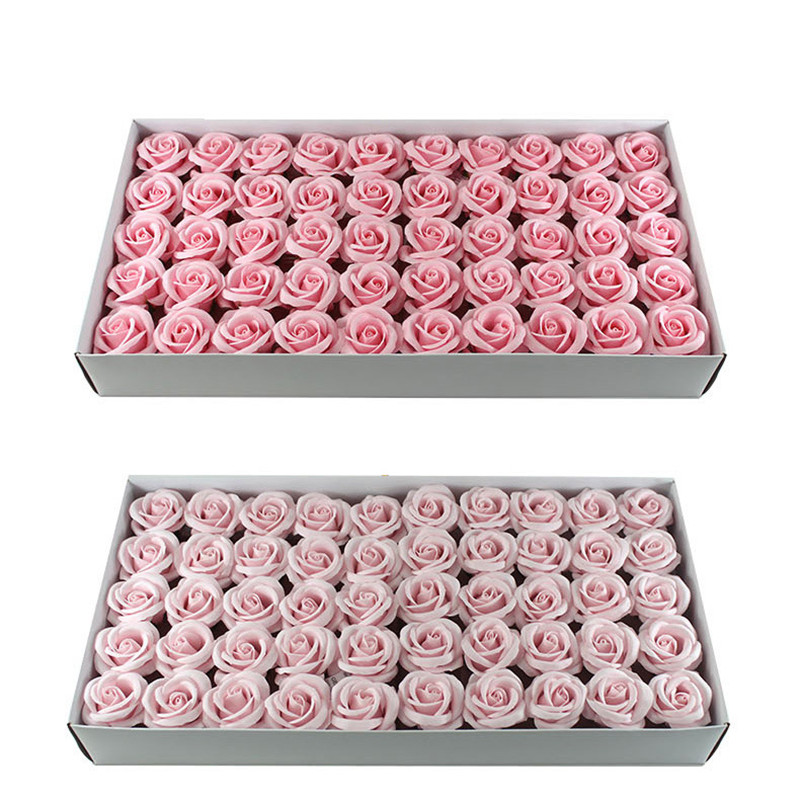 50Pcs Korean Four-Layer Curled Bath Soap Rose Flower Floral Scented Soap Rose Petals Body Soap For Valentine'S Day C14-C23