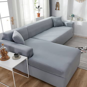 L Shape Need Buy 2pcs Sofa Cover Solid Color Corner Sofa Covers for Living Room Elastic Spandex Couch Cover Stretch Slipcovers 1
