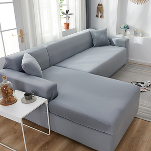 L Shape Need Buy 2pcs Sofa Cover Solid Color Corner Sofa Covers for Living Room Elastic Spandex Couch Cover Stretch Slipcovers(China)