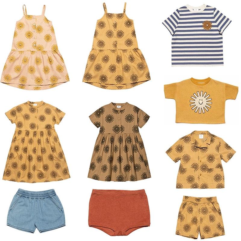 Enkelibb wynken 2020 ss crianças menina moda a-line vestido hawaii roupas para bebê menina moda marca crianças impressão de sol sling vestido