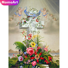 MomoArt Diamond Embroidery Angel Cross Painting Religion Mosaic Full Drill Square Wall Decoration