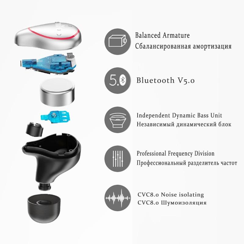 TWS Wireless Earphones IPX7 Waterproof Bluetooth Earbuds Mini Invisible Wireless Stereo Earphone with Microphone Handsfree Calls