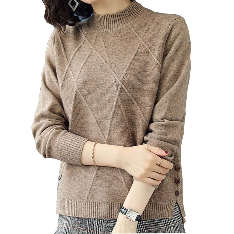 Women Button Color Matching Knit Short Hollow Long Sleeve Casual Warm Loose Sweater New Arrival
