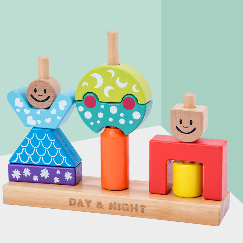 Day & Night Tower Blocks Montessori Rainbow Wooden Blocks Baby Toy Wood Building Block Game Educational Toys For Child Toys