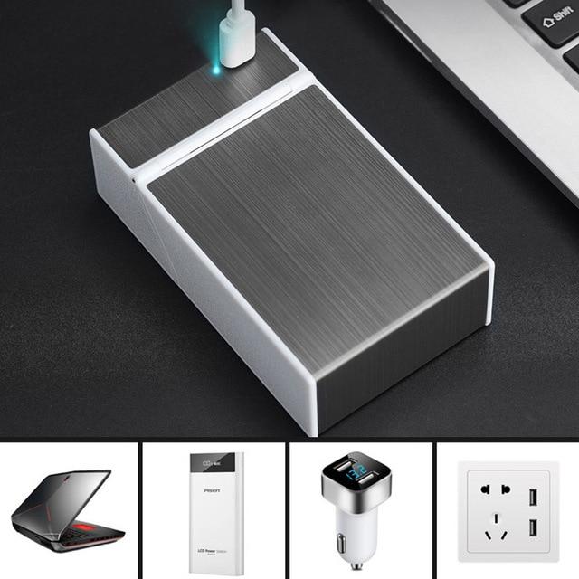 Caja de carga USB para cigarrillos 2 en 1, encendedor a prueba de viento para fumar, caja de cigarrillos de Metal, cajas recargables