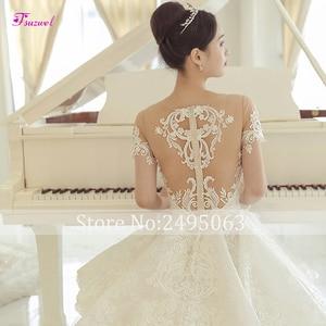 Image 5 - Fsuzwel великолепные свадебные платья трапециевидной формы с кружевной аппликацией и длинным шлейфом 2020 роскошное свадебное платье с бисером и глубоким вырезом Vestido de Noiva