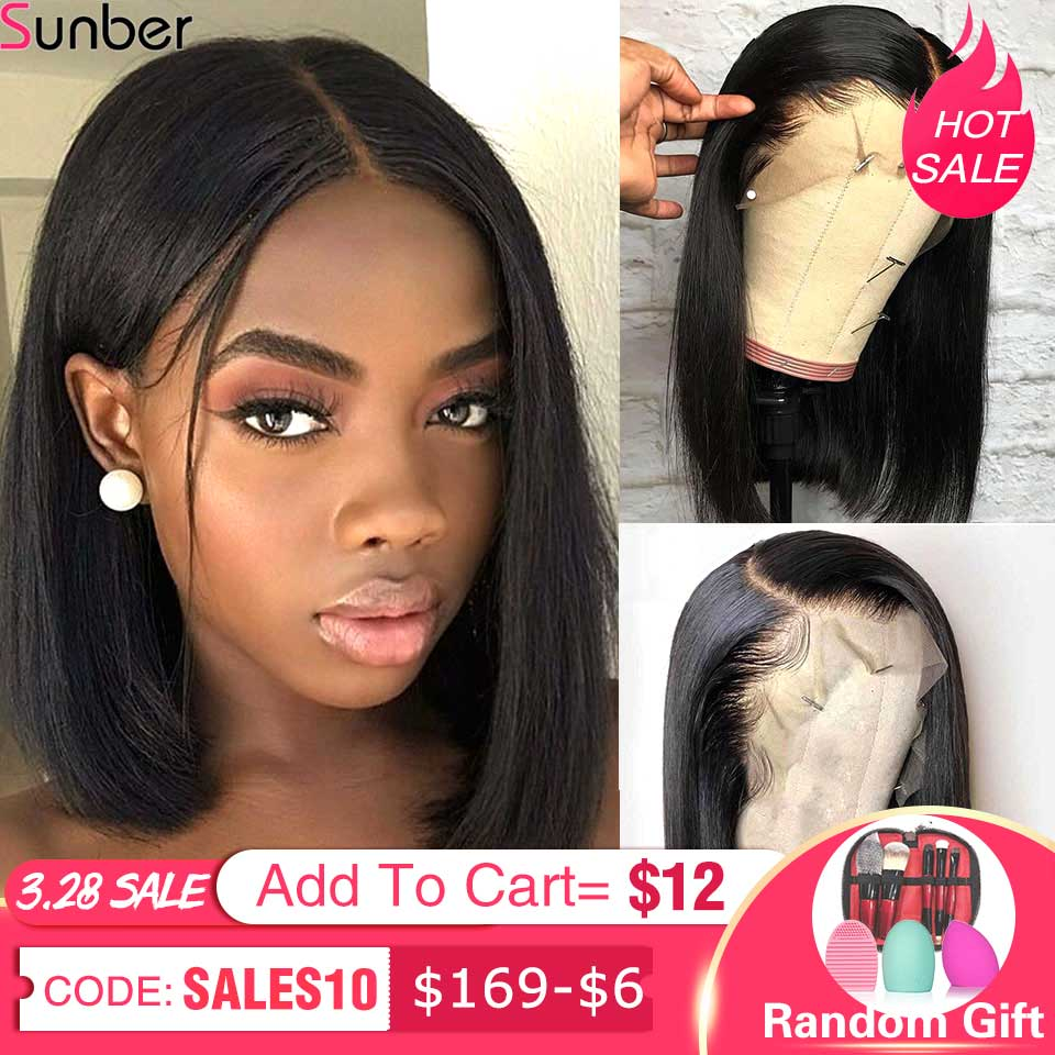 Sunber Straight Short Glueless Lace Front Human Hair Wigs Pre Plucked With Baby Hair Brazilian Remy Hair Bob Wig 8-14Inch