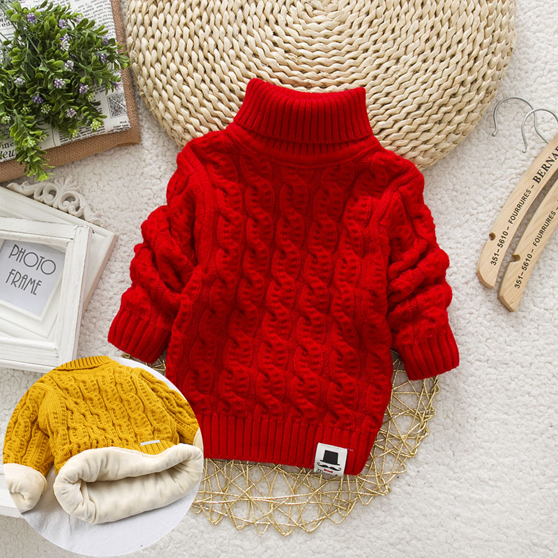 PHILOLOGY Plush inside pure color winter boy girl kid thick Knitted turtleneck shirts solid high collar pullover fluff sweater 6
