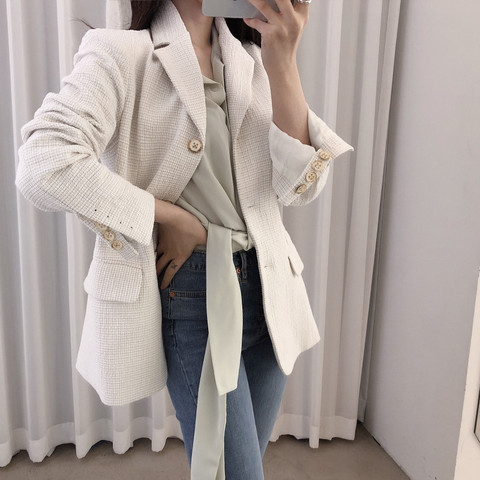 Women Wool tweed Blazers coat 2019 New Fashion Spring Autumn Long Sleeve Suit Jacket Coat Outerwear Pakistan