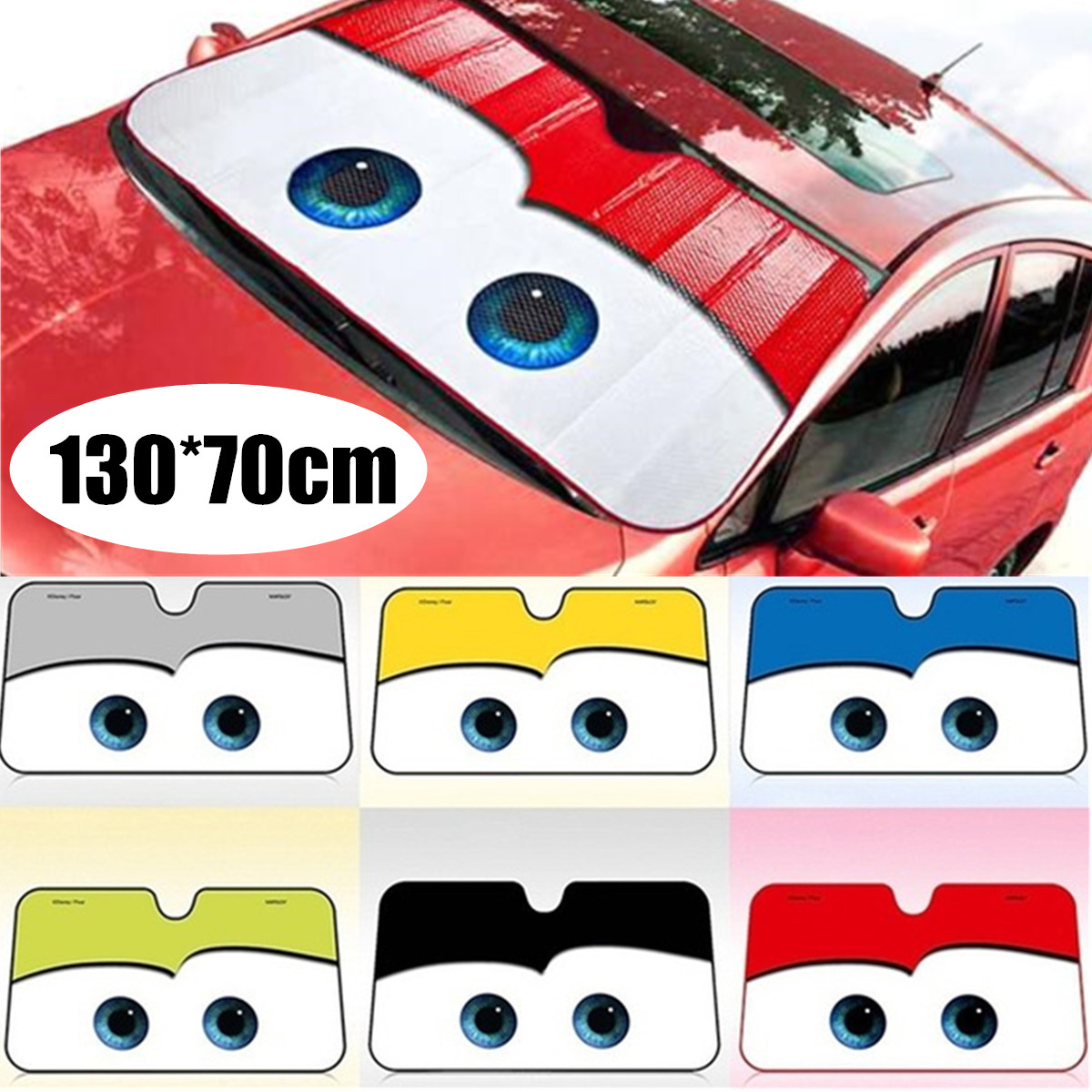 6 farben Augen Form Auto Sonnenschirm Beheizte Windschutzscheibe Cartoon Windschutz Abdeckung Auto Sonnenblende Auto-deckt Auto Solar Schutz