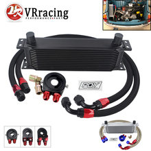 Universal 13 Rows AN10 Oil Cooler + Oil Filter Sandwich Adapter + Stainless Steel Nylon Braided AN10 Hose For Cooling System