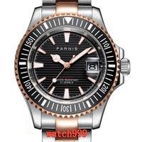 Parnis 40 mm Black dial Luminous Rose gold bezel Sapphire Crystal men's watch date Miyota8215 men's automatic mechanical watches