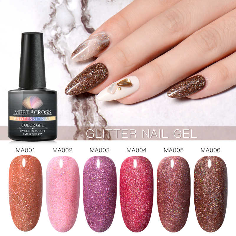Bertemu Di 8 Ml Glitter Kuku Gel Hologram Gel Polandia Menyilaukan Bersinar Gel Varnish UV LED Rendam Off Nail Art manikur