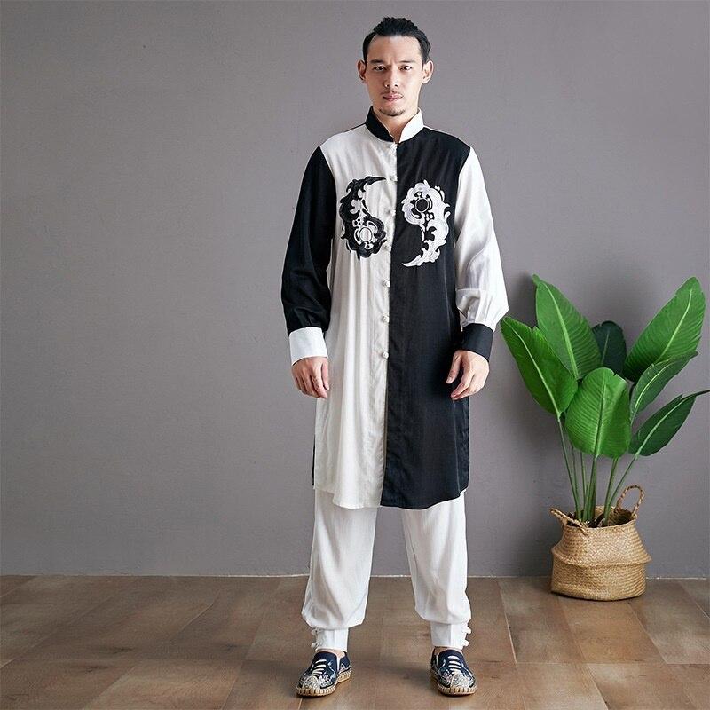 Linen Shirts Men Tracksuit Pants Sets Two Piece Kong Fu Suit Mens Streetwear Fashion Sweat Pant 2019 Men'S Sets KK3174